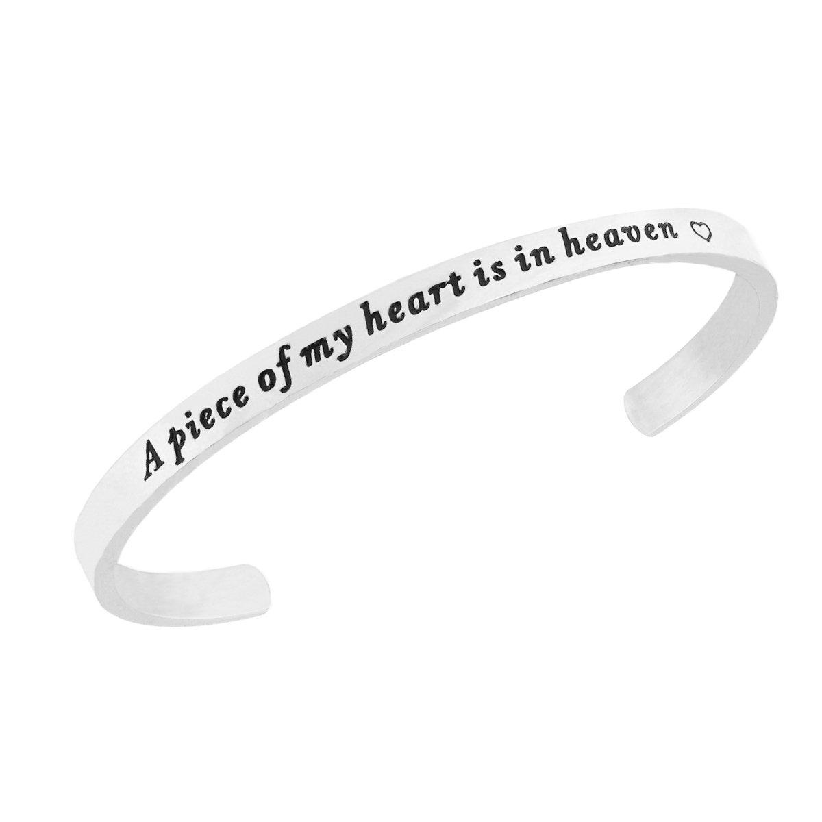 RUNXINTD A Piece of my heart is in heaven Memories Cuff Bracelet Memorial Jewelry Miscarriage Bracelet (Cuff Bracelet-Silver)