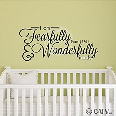 I Am Fearfully And Wonderfully Made Psalm 139:14 wall saying vinyl lettering art decal quote sticker home decor
