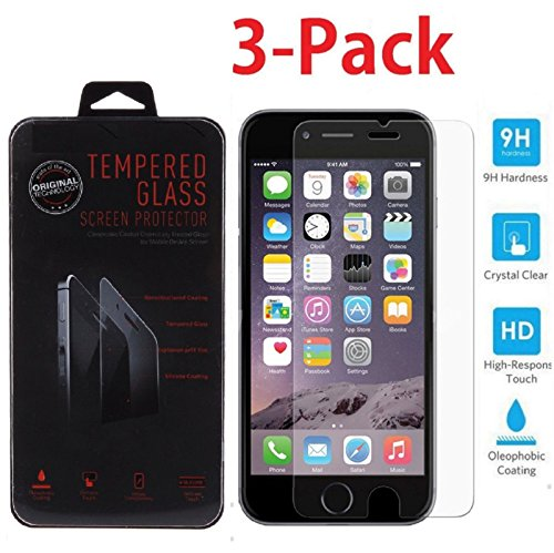3 Pack Premium Tempered Glass Screen Protector for Apple iPhone 7, iPhone...