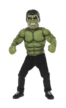Avengers - Disfraz de Hulk infantil, con pecho, máscara y guantes, talla M (Rubies Spain 34101)