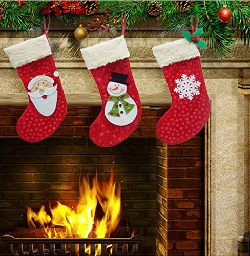 Dream Loom Large Christmas Stockings Set of 3,Xmas Stockings with Plush Cuff Santa Snowman Snowflake Stockings for Kids Gifts 13''/33cm ()