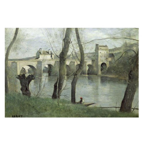 The Bridge Mantes by Jean Baptiste Corot, 22x32-Inch Canvas Wall Art
