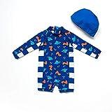 Bonverano(TM Infant Boy's UPF 50+ Sun Protection L/S One Piece Zip Sun Suit (24-36 Months, Navy)