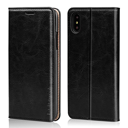 Belemay iPhone X Case, iPhone X Wallet Case, Genuine Cowhide Leather Wallet Case, Slim Fit Protective Flip Cover Folio Book Style, Card Holder Slots, Kickstand, Cash Pocket Fit for iPhone X, Black