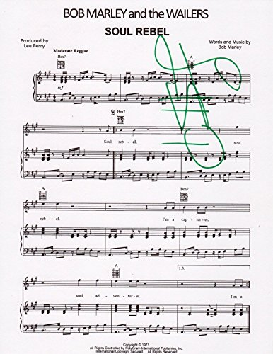 Lee Scratch Perry SIGNED Soul Rebel sheet music Bob Marley Wailers Producer COA from Loa_Autographs