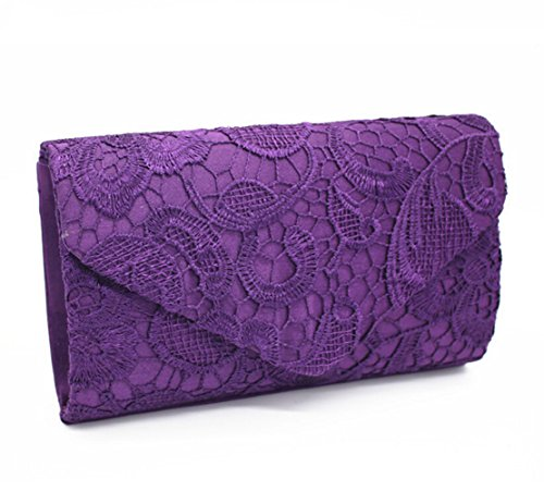 purple Bridal Bridesmaid Bags Clutch Envelope Wedding Purse Evening Bag Lace Women v1pxCf