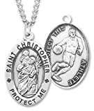 Heartland Men's Sterling Silver Oval Saint Christopher Basketball Pendant + USA Made + Chain Choice