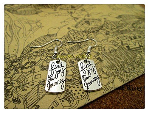 fashion hot sale Antique silver 2010mm Antique silver Find Joy in the Journey charm pendant dangle earrings (Silver Guitar Pic compare prices)