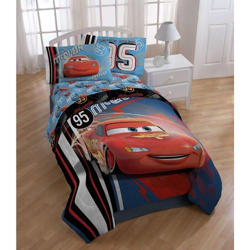 Disney Pixar Cars  95 Full Comforter - Super Soft Kids Reversible Bedding features Lightning McQueen - Fade Resistant Polyester Microfiber Fill (Official Disney Pixar Product)
