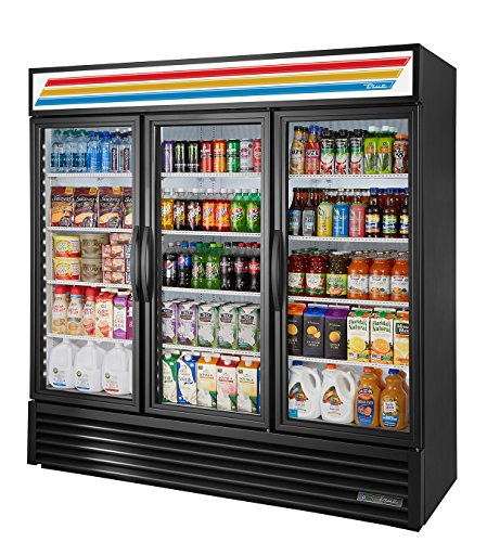 True GDM-72-HC~TSL01 Triple Swing GLASS Door Merchandiser REFRIGERATOR with Hydrocarbon Refrigerant and LED Lighting, Holds 33 degree F to 38 degree F, 78.625' Height, 29.875' width, 78.125' Length