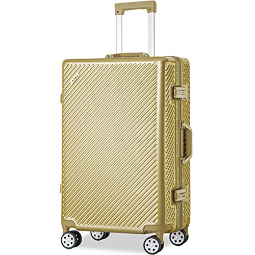 Flieks Aluminum Frame Luggage TSA Approved Zipperless Suitcase with Spinner Wheels 20 24 28inch Available (20-Carry on, Luxury Gold)