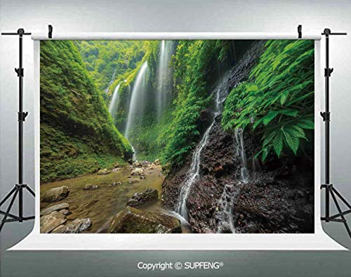 Photography Backdrops Waterfalls Side Valley in Indonesia with Asian Bushes Above The Hills 3D Backdrops for Photography Backdrop Photo Background Studio Prop]()