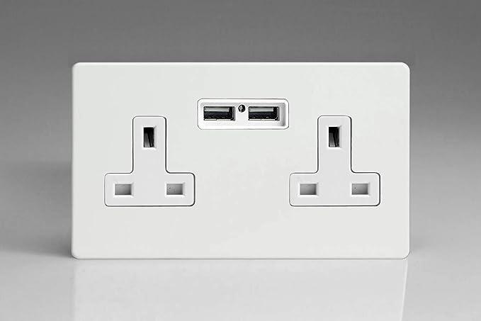 Varilight XDQ5WS Screwless Premium White 2 Gang Double 13A Switched Plug Socket