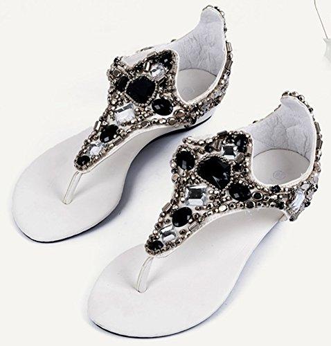 Aisun Femme Blanc Toe Strass Mode Clip Sandales rZBxr8
