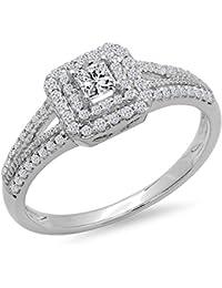 0.50 Carat (ctw) 14K Gold Princess & Round Cut Diamond Halo Engagement Ring 1/2 CT