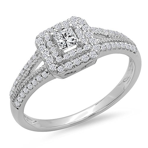 (Dazzlingrock Collection 0.50 Carat (ctw) 14K Princess & Round Cut Diamond Halo Engagement Ring 1/2 CT, White Gold, Size)