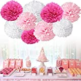 Tissue Paper Pom Pom Flowers Baby Shower Birthday Wedding Party Decorations 12 pcs Hanging Pom Poms,8'' 10'' Rose Pikn White