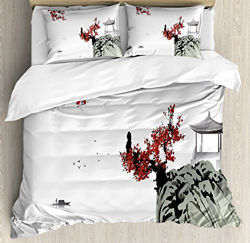 Ambesonne Asian Decor Duvet Cover Set, Asian River Scenery with Cherry Blossoms Boat Cultural Hints Mystical View Artsy Work Floral Theme, A 3 Piece Bedding Set with Pillow Shams, Ruby Grey ()