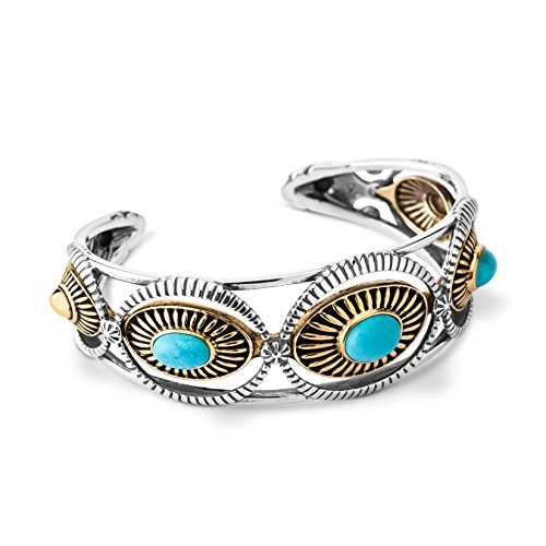3 Stone Cuff Bracelet - Fritz Casuse Sterling Silver Mixed Metal Turquoise Three-stone Cuff Bracelet, Large