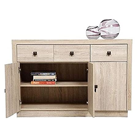Ideal Torino 3 Door Whitewashed Oak Effect Sideboard Sideboard Oak Cabinet  Wooden Chest Of Drawers Large