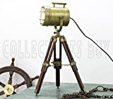 Vintage Decorative Marine Table Lamp Nautical Royal Wooden Tripod Desk Decor Maritime Replica 2017 (Brown-Brass)