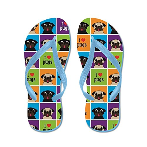 CafePress I Love Pugs Sm Color Squares - Flip Flops, Funny Thong Sandals, Beach Sandals by CafePress
