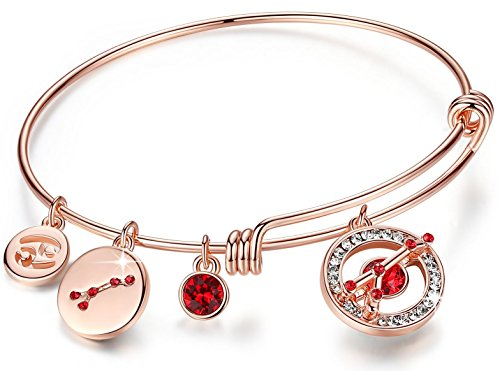 Leafael Superstar Cancer Zodiac Expandable Bangle Bracelet Made with Swarovski Crystals Horoscope Constellation June July Birthstone Light Siam Red Jewelry, Rose Gold Plated, 7