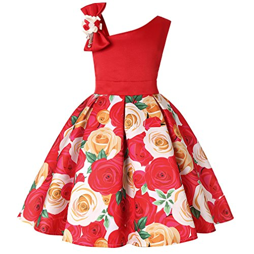 Teenages Girls A-Line Dresses Birthday Party New Year Wedding Floral Printing Dress (Red,130)
