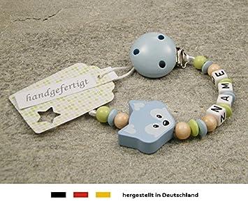Schnullerkette mit Wunsch-Namen Baby Junge Mädchen mit Fuchs und Herz Punkte
