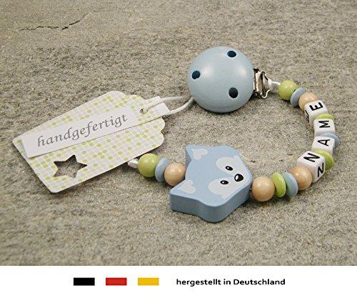M/ädchen /& Jungen Motiv Fuchs in hellbau Baby SCHNULLERKETTE mit NAMEN Schnullerhalter mit Wunschnamen
