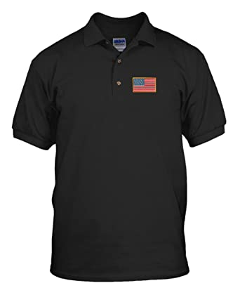 American Flag Country Embroidery Cotton Short Sleeve Polo Jersey Shirt  Black Small