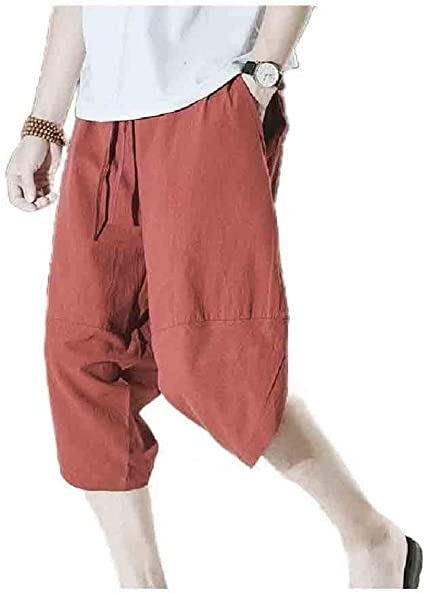 Kankanluck Mens 3/4 Pants Loose Fit Summer High Low Solid-Colored Pants