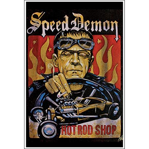 Speed Art Halloween (Speed Demon by Mike Bell Frankenstein Monster Hot Rod Wall Art Print for)