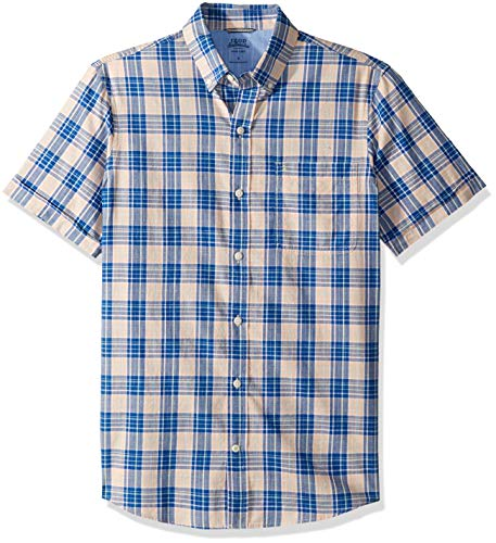 IZOD Men's Saltwater Dockside Chambray Short Sleeve Button Down Plaid Shirt, Prairie Sunset, Large from IZOD