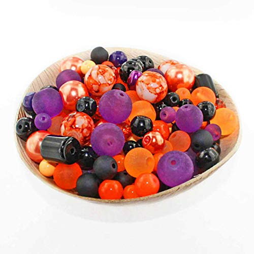 Glass Bead Mix Assorted 100 Halloween Color Combination 6mm to 12mm - BMX047