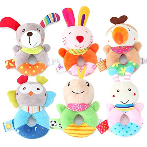 FLORMOON Baby Wrist Rattles - Infant Developmental Hand Grip Baby Toys - Cute Stuffed Animal with Sound for 3, 6, 9, 12 Months and Newborn (1 Pack, Random Pattern)