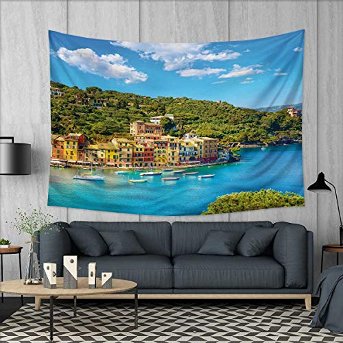 Anhuthree Italy Wall Hanging Tapestries Portofino Landmark Aerial Panoramic View Village and Yacht Little Bay Harbor Large tablecloths 84