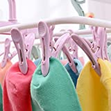 YJYdada 12 Clip Folding Drying Rack Underwear Socks Clip Multi-functional Clothes Rack (Pink)
