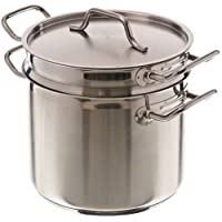 Update International SDB-12 12-Quart Induction Ready Stainless Steel Double Boiler with Cover, Clear