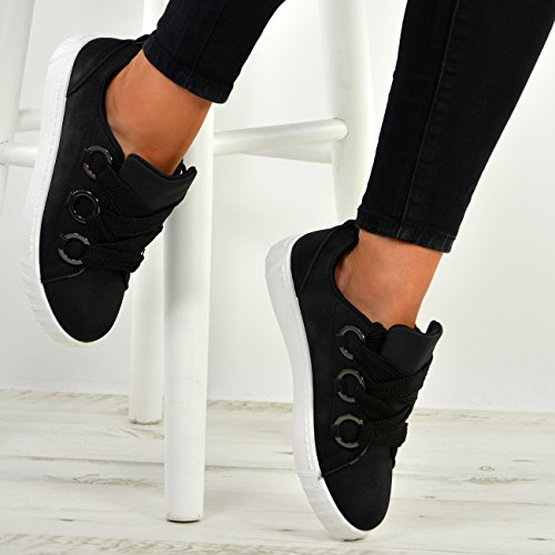 Cucu Fashion New Womens Ladies Slip on Flat Sneakers Trainers Plimsolls Lace Up Shoes Size UK Black GpEFARIobW