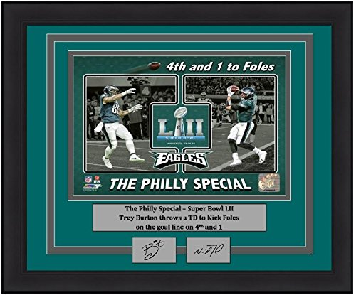 "Philadelphia SB 52 Trey Burton/Nick Foles Philly Special Touchdown Collage 8"" x 10"" Framed and Matted Football Photo with Engraved Autographs"