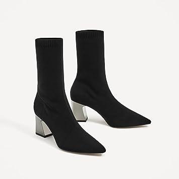 SDKIR-Caída talón estirar los calcetines botas cortas sueter de punto botas señaló botas de