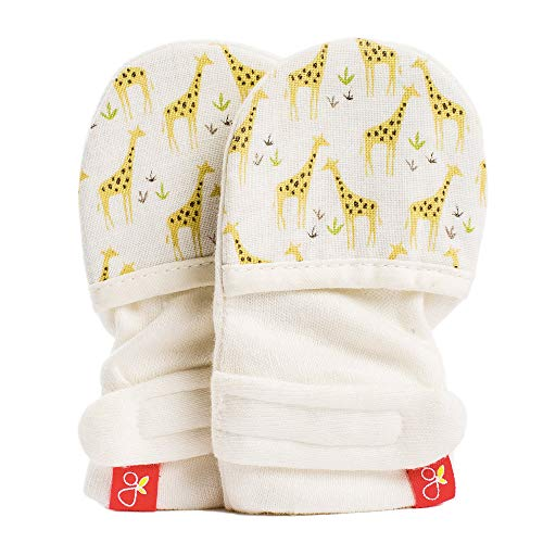 Goumimitts, Scratch Free Baby Mittens, Organic Soft Stay On Unisex Mittens, Stops Scratches and Prevents Germs (3-6 Months, Safari)