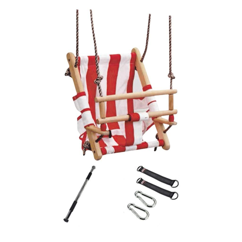 LIGONG 子供用 スイングシート ハイバック 子供 ベビー スイング シンプル 実用的 アウトドア インドア ホーム スイング キャンバス レッド ホワイト 34 25 45cm B07RGBLZJN