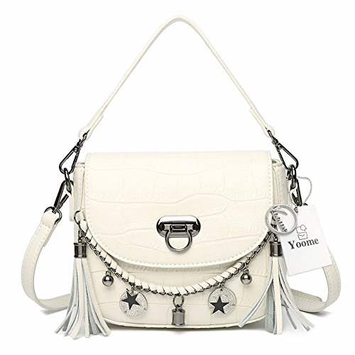 Girls White Handbags Women Shoulder with Pattern Punk Bags for Bags Cowhide for Style Tassel Yoome Mini Crocodile a7vqw