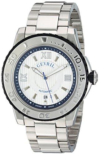 Gevril Seacloud Mens Swiss Automatic Silver Stainless Steel Bracelet Watch, (Model: 3114B) by Gevril