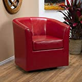 Great Deal Furniture Corley Red Leather Swivel Club Chair