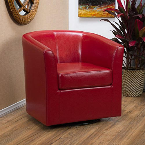 Great Deal Furniture Corley Red Leather Swivel Club Chair (Leather Barrel Chair)