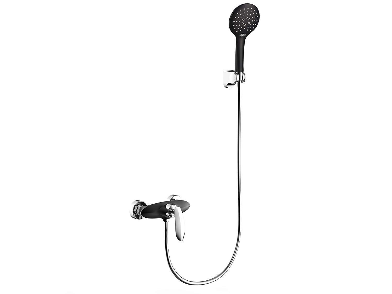 Ggwasai Küche-Bad-Duscher Tap Baderoom Wand Montierten Einzel-Handle-Dusch-Faucet Mit The Hand Shower, Solid Brass, schwarz Und Chrome Farbe