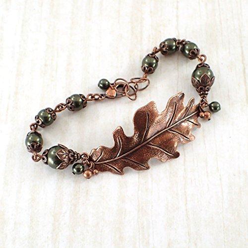 Adjustable Dark Green Swarovski Crystal Simulated Pearl Copper Colored Oak Leaf Bracelet